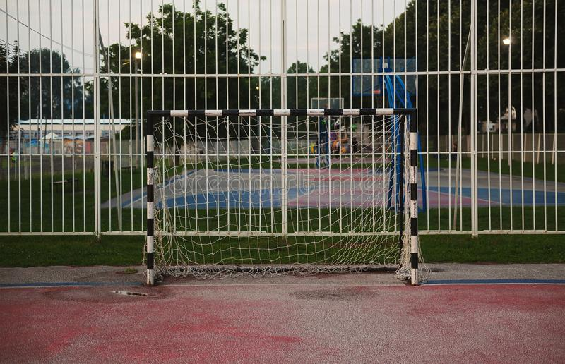 Handball Goal on Sport Yards stock photography