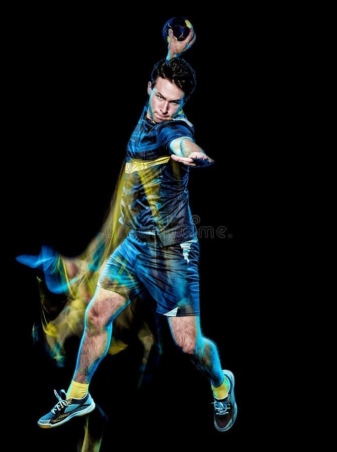 Handball gracza prędkości światła młody człowiek odizolowywający obraz fotografia royalty free