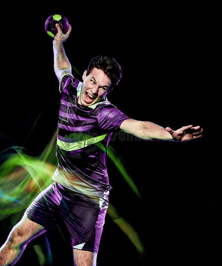 Handball gracza prędkości światła młody człowiek odizolowywający obraz obraz stock