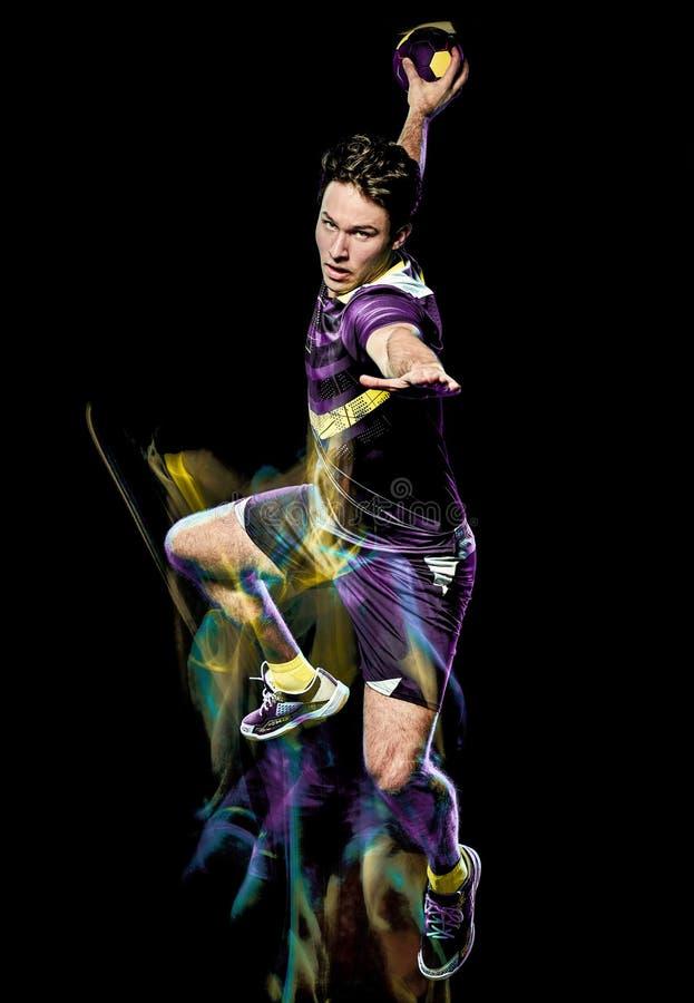 Handball gracza prędkości światła młody człowiek odizolowywający obraz zdjęcia royalty free