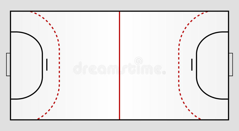 Handball ground. A stylized handball ground showing all relevant lines royalty free illustration