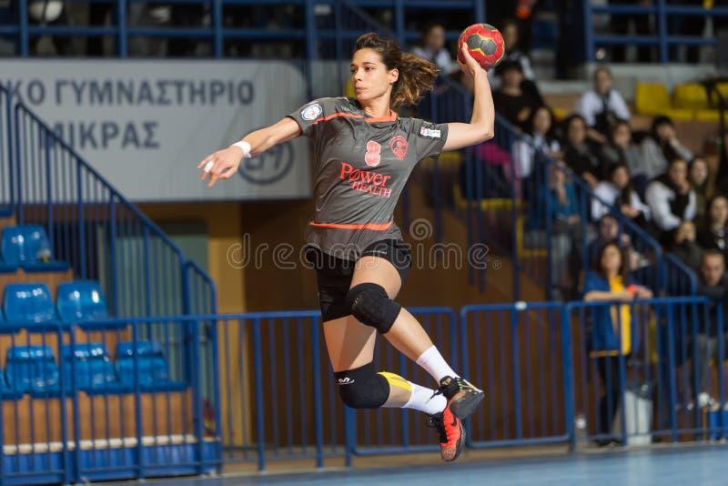 Handball player in action during the Greek Women Cup Final handball game Arta vs Nea Ionia. Thessaloniki, Greece - February 13, 2016: Handball player in action royalty free stock photos