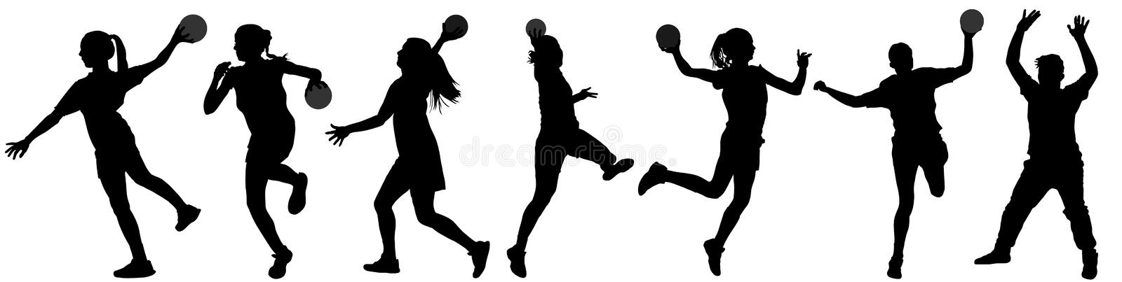Handball player in action silhouette illustration isolated on white background. Woman handball player symbol. stock illustration