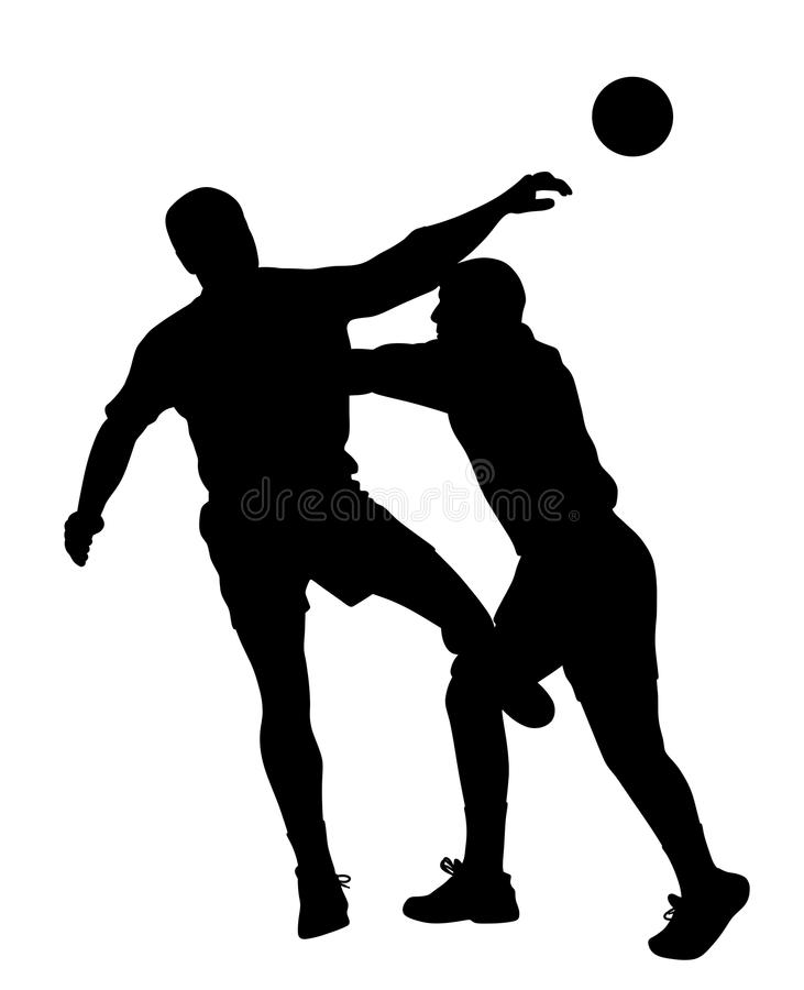 Handball player blocking opponent player. Illustration silhouette of handball player blocking opponent player. Isolated white background. EPS file available vector illustration