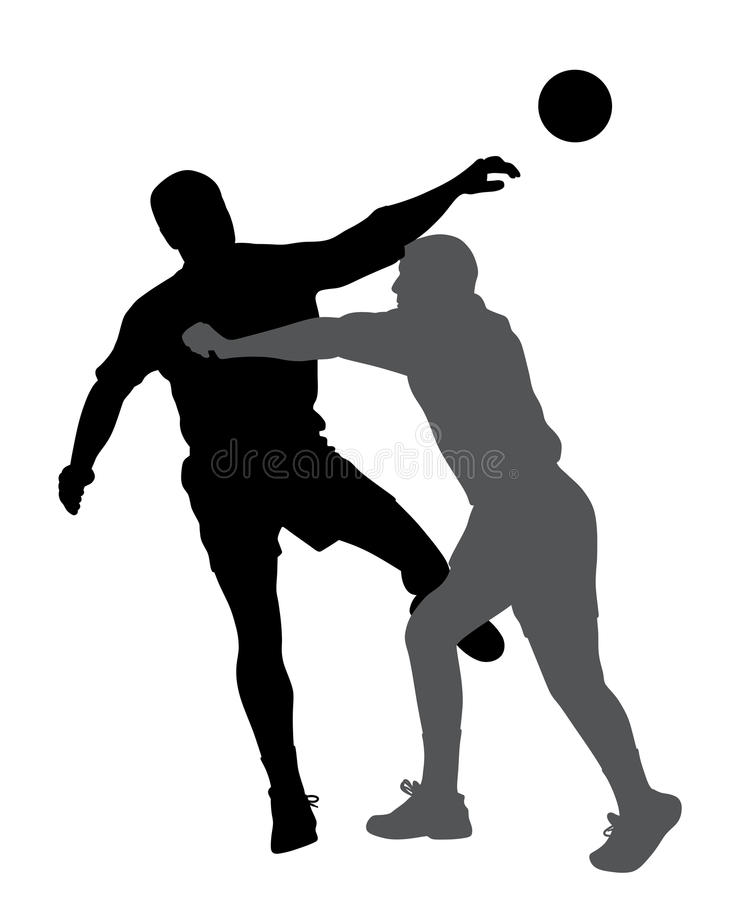 Handball player blocking opponent player. Illustration of handball player blocking opponent player. Isolated white background. EPS file available royalty free illustration