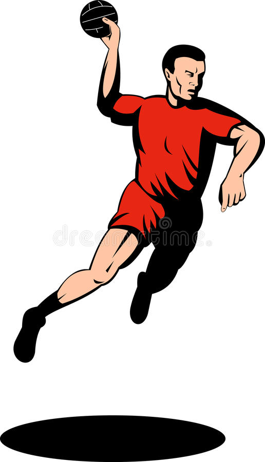 Download Handball Player Jumping With Ball Stock Illustration - Illustration of full, adult: 10245260