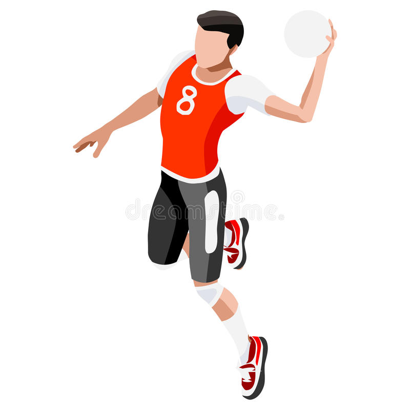 Handball Summer Games Icon Set.3D Isometric Athlete.Sporting Championship stock illustration