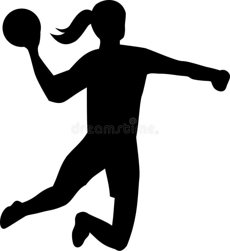 Handball Woman Throwing Ball vector illustration