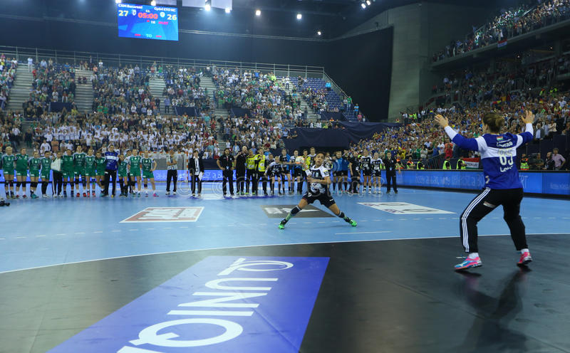 HANDBALL WOMEN EHF CHAMPIONS LEAGUE FINAL – GYORI AUDI ETO KC vs. CSM BUCURESTI. Hungarian team Gyori Audi ETO KC faced romanian team CSM Bucuresti in the stock image