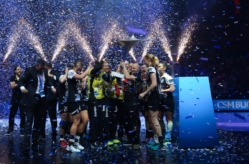 HANDBALL WOMEN EHF CHAMPIONS LEAGUE FINAL – GYORI AUDI ETO KC vs. CSM BUCURESTI. Hungarian team Gyori Audi ETO KC faced romanian team CSM Bucuresti in the stock images