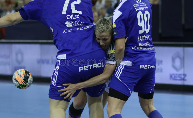 HANDBALL WOMEN EHF CHAMPIONS LEAGUE FINAL 4 – GYORI AUDI ETO KC vs. ZRK BUDUCNOST PODGORICA. Hungarian team Gyori Audi ETO KC faced montenegrin team ZRK stock images