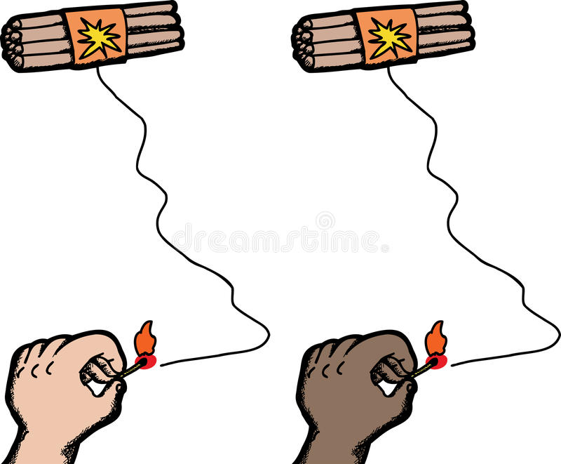 Handbelysningsprängmedel royaltyfri illustrationer