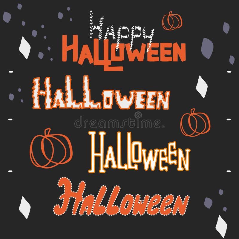 Handbeschriftung eingestellt für Halloween stockfoto