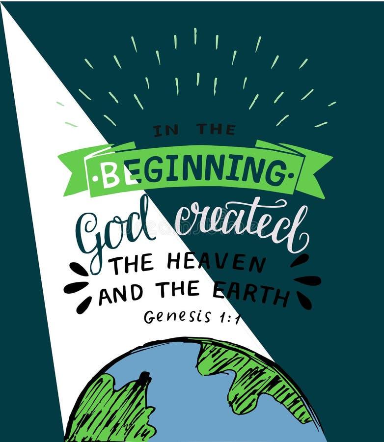 Handbeschriftung mit Bibel versifiziert am Anfang Gott herstellte den Himmel und die Erde entstehungsgeschichte lizenzfreie abbildung