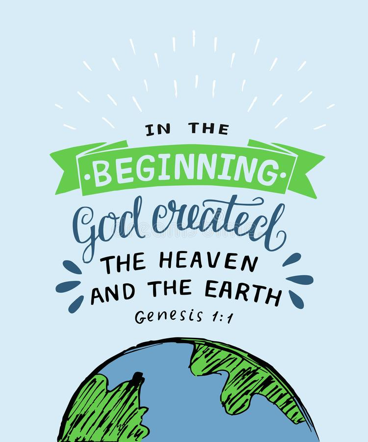 Handbeschriftung mit Bibelvers am Anfang Gott stellte den Himmel und die Erde her entstehungsgeschichte lizenzfreie abbildung