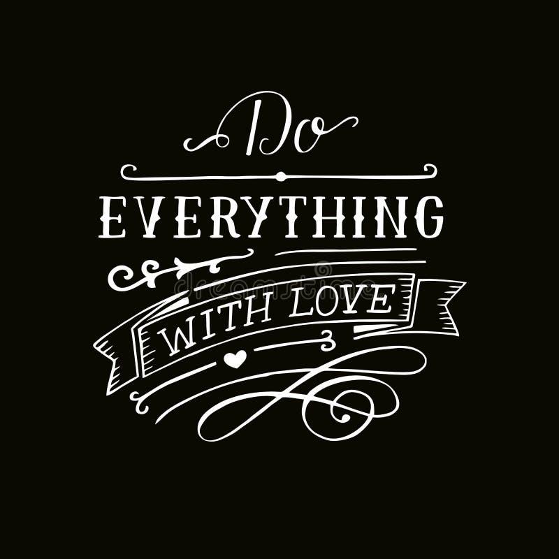 Handbeschriftung mit Bibelvers tun alles mit Liebe auf schwarzem Hintergrund vektor abbildung