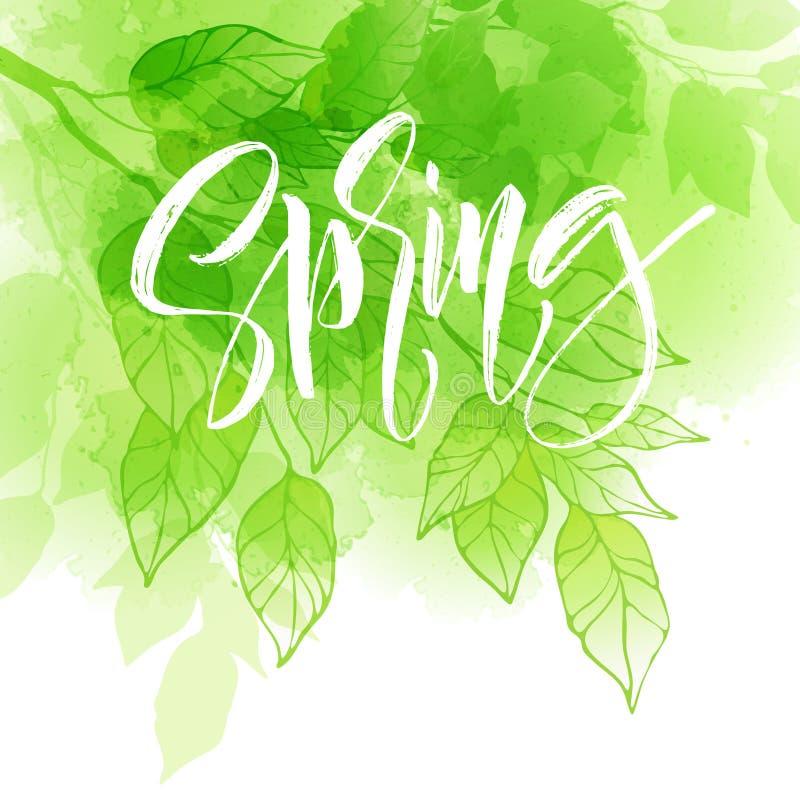 Handbeschriftungs-Frühlingsdesign auf einem grünen und gelben Aquarell malte Hintergrund mit Blatt Kalligraphiebuchstaben Vektor lizenzfreie abbildung