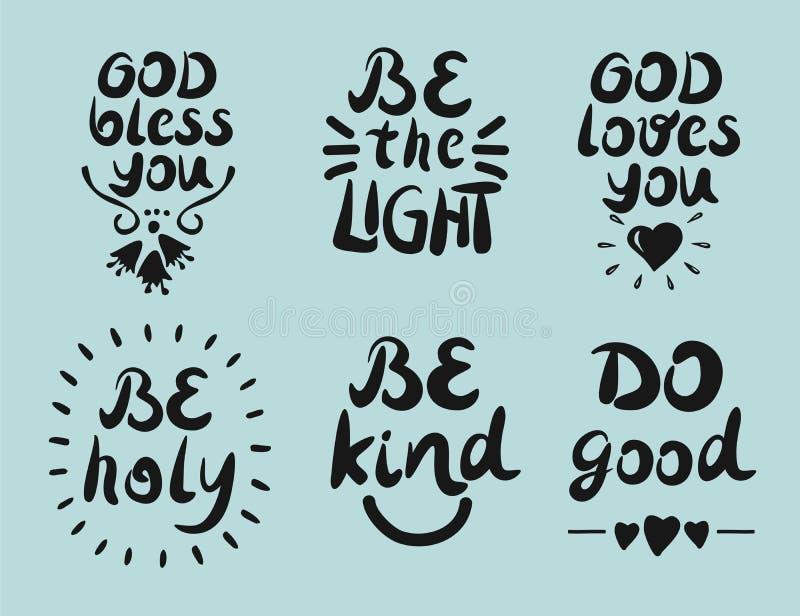 6 Handbeschriftungs-Zitate Gott segnen Sie Seien Sie das Licht Tun Sie gutes vektor abbildung
