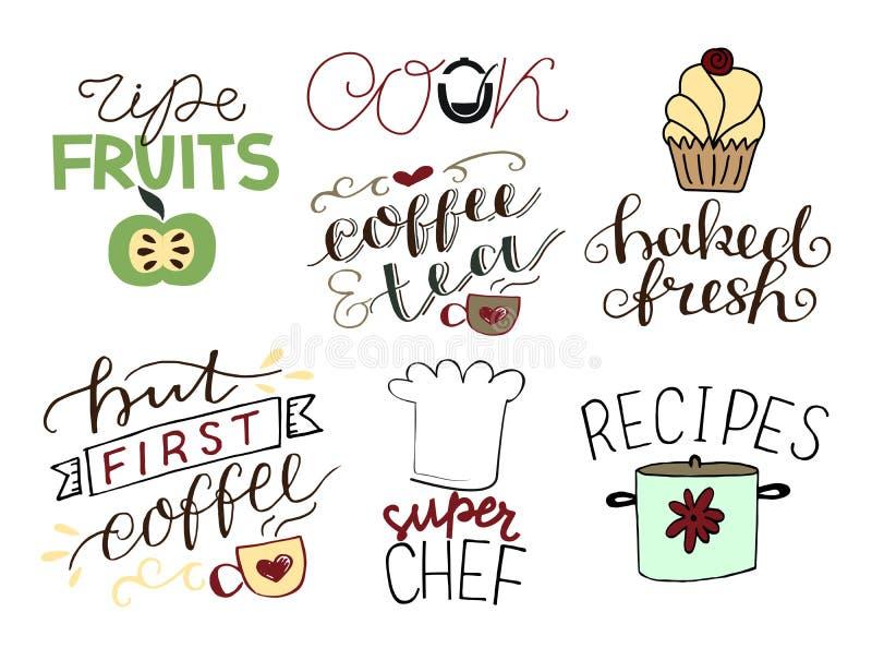 7 Handbeschriftungszitate über Nahrungsmittelreife Früchte koch Backte frisches Aber erster Kaffee Superchef rezepte vektor abbildung