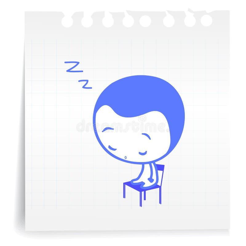 Schlafen sitzende cartoon_on Papier Anmerkung stock abbildung