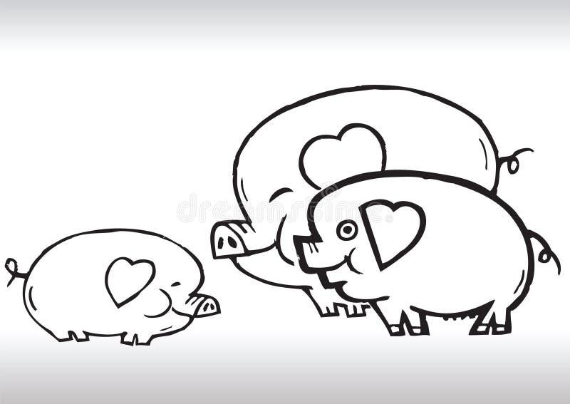 Handbetragschwein-Familienliebe stock abbildung
