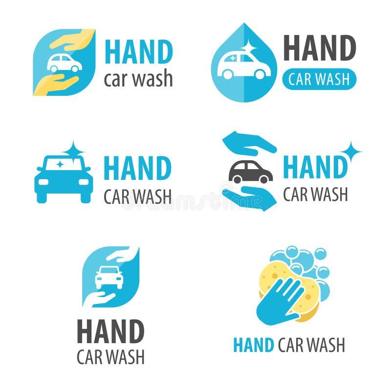 Handbiltvättlogo royaltyfri illustrationer