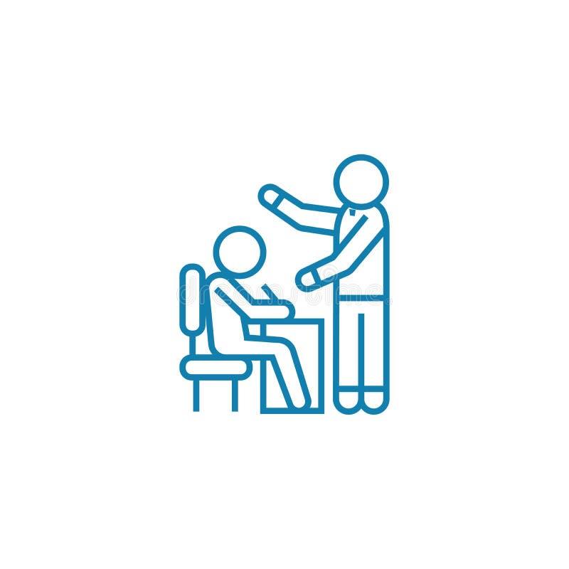 Handboek voor concept van het werknemers het lineaire pictogram Handboek voor het vectorteken van de werknemerslijn, symbool, ill royalty-vrije illustratie