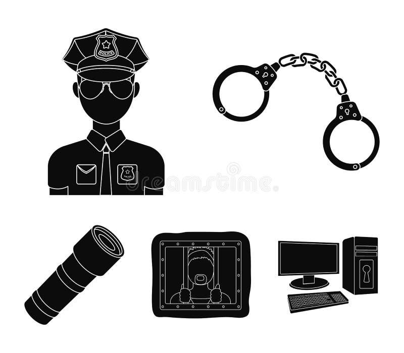 Handbojor polis, fånge, ficklampa Lagerför fastställda samlingssymboler för polisen i svart stilvektorsymbol illustrationen vektor illustrationer