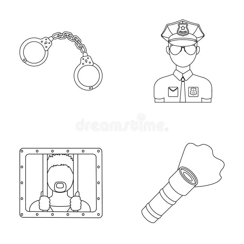 Handbojor polis, fånge, ficklampa Lagerför fastställda samlingssymboler för polisen i symbol för översiktsstilvektor illustration vektor illustrationer
