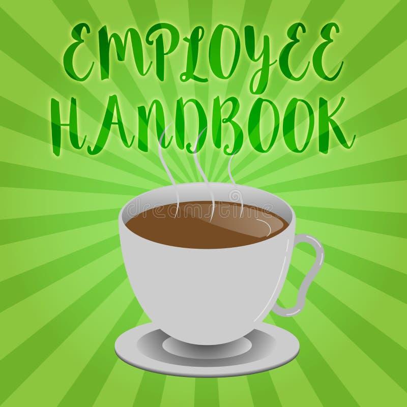 Handbok för anställd för handskrifttexthandstil Begreppsbetydelsedokument som innehåller fungeringstillvägagångssätt av företaget stock illustrationer