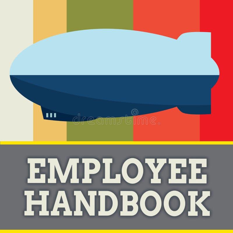 Handbok för anställd för ordhandstiltext Affärsidé för dokumentet som innehåller fungeringstillvägagångssätt av företaget royaltyfri illustrationer