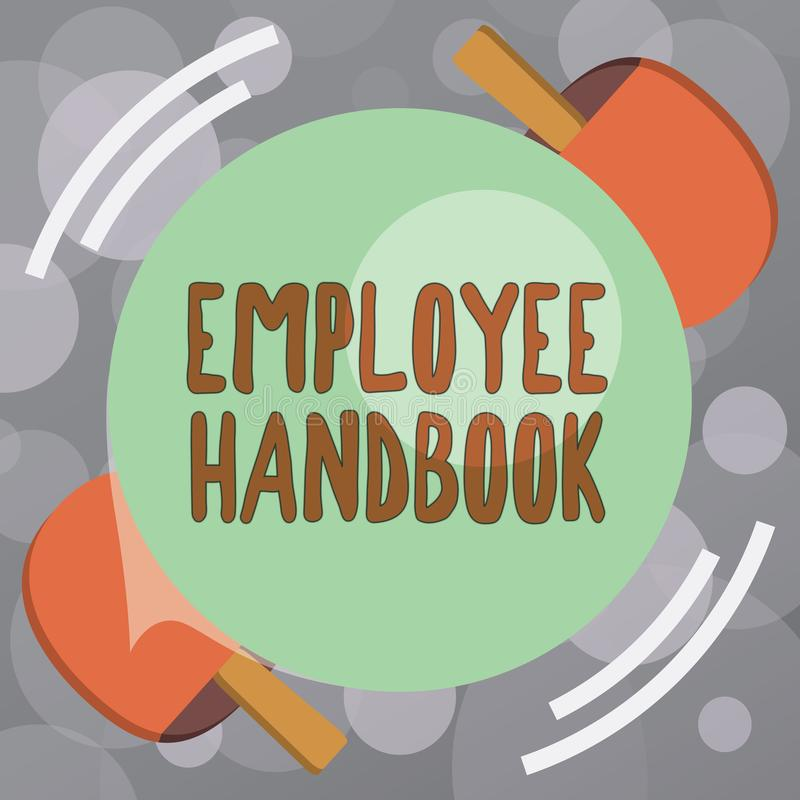 Handbok för anställd för textteckenvisning Begreppsmässigt fotodokument som innehåller fungeringstillvägagångssätt av företaget stock illustrationer
