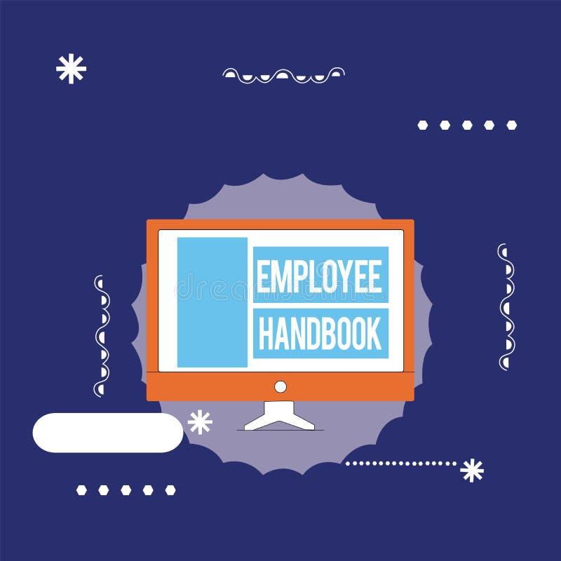 Handbok för anställd för textteckenvisning Begreppsmässigt fotodokument som innehåller fungeringstillvägagångssätt av företaget royaltyfri illustrationer