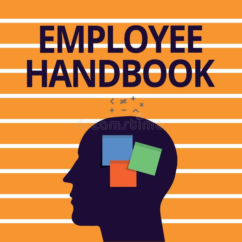 Handbok för anställd för textteckenvisning Begreppsmässigt fotodokument som innehåller fungeringstillvägagångssätt av företaget vektor illustrationer