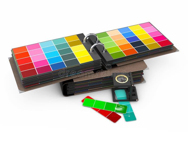 Handbok för färgpalett på vit bakgrund, illustration 3d vektor illustrationer