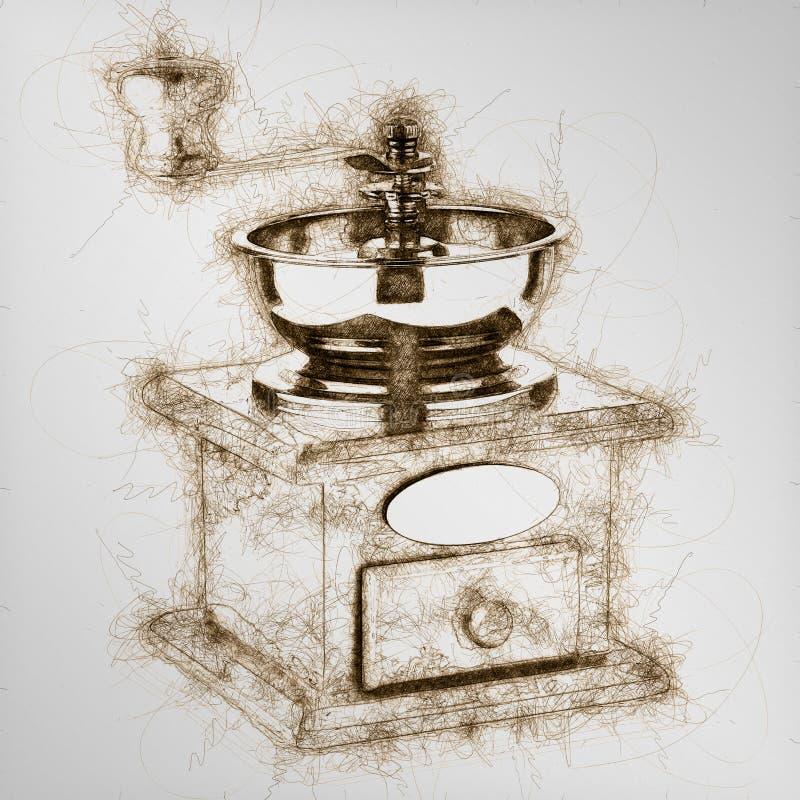 handbok för kaffegrinder royaltyfri illustrationer