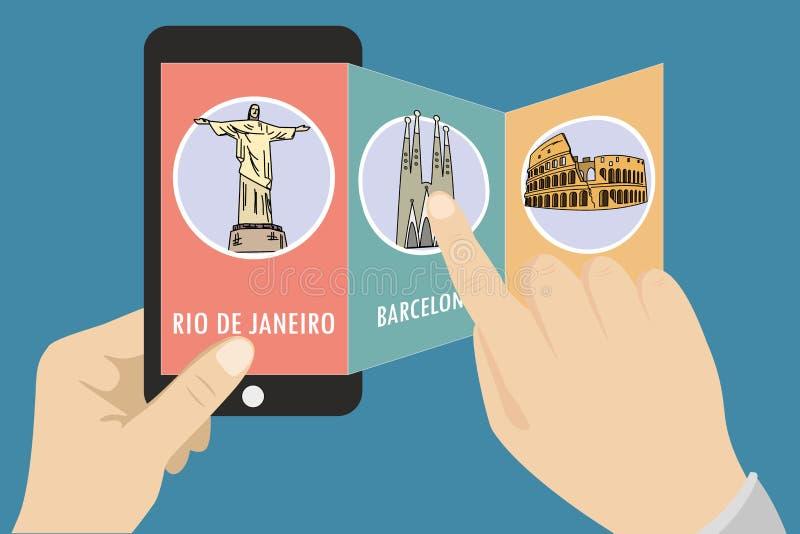 Handbok på en mobiltelefon royaltyfri illustrationer