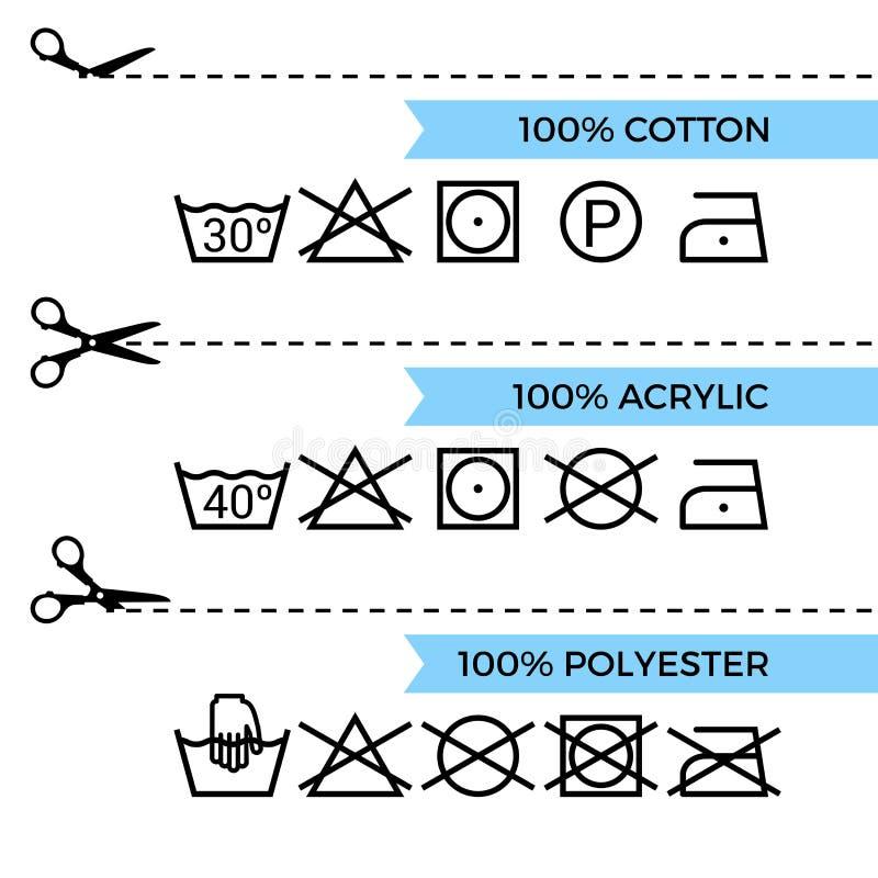 Handbok till tvätteriomsorgsymboler vektor illustrationer