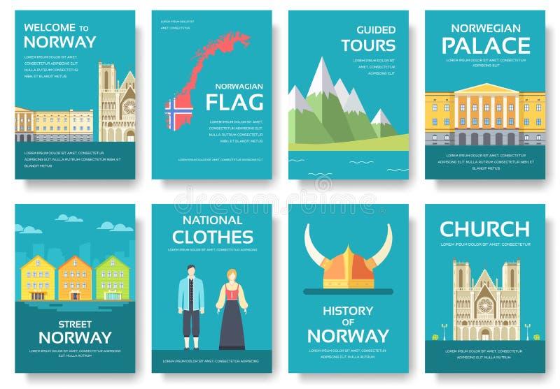 Handboken för semestern för det landsNorge loppet av gods, förlägger och presenterar Uppsättning av arkitektur, mode, folk, objek royaltyfri illustrationer