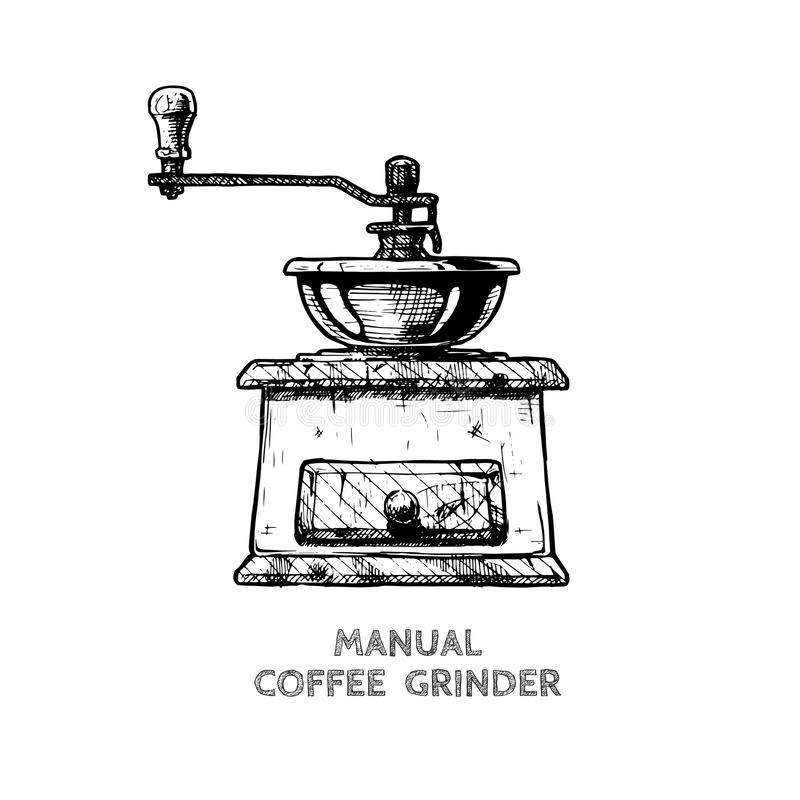 Handboken skorrar maler kaffekvarnen vektor illustrationer