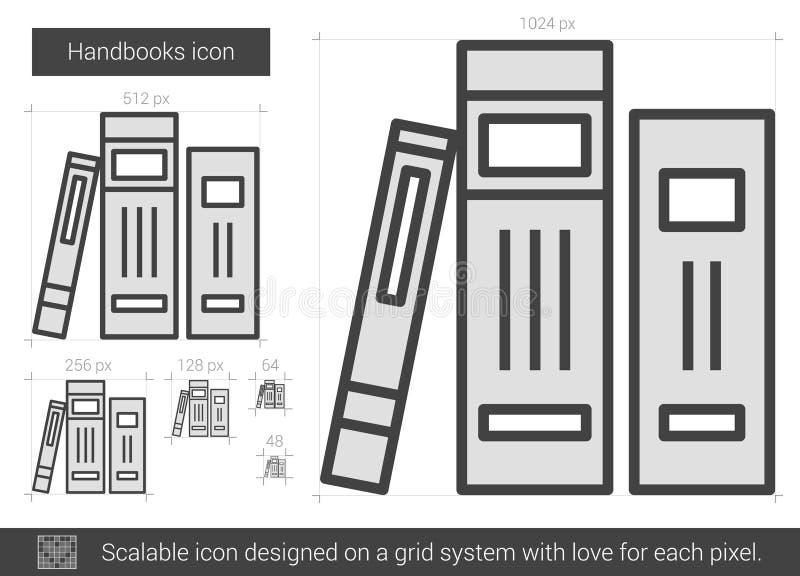 Handbokslinje symbol stock illustrationer