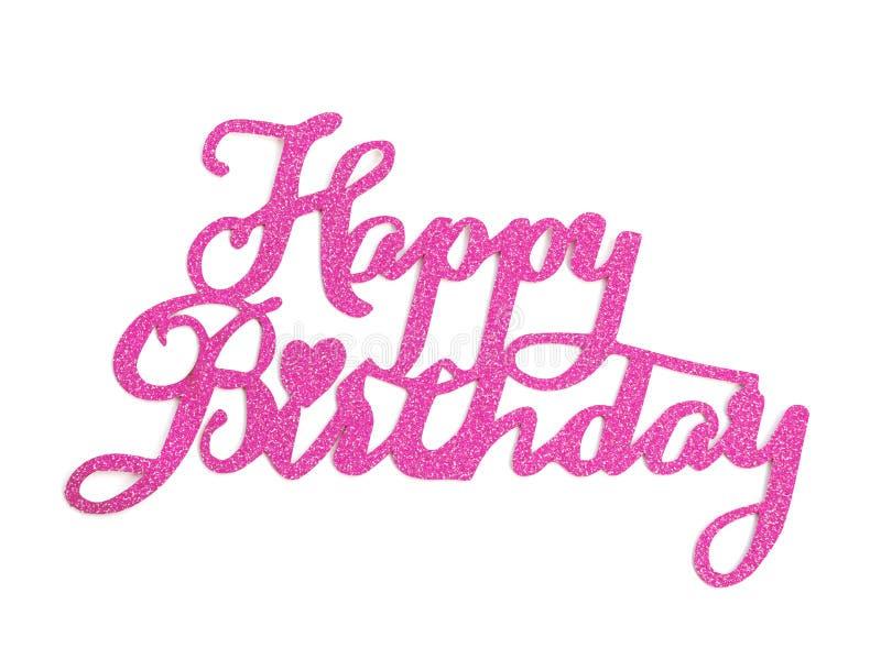 Handbokstäver för den lyckliga födelsedagen med rosa färger blänker effekt som isoleras på vit bakgrund royaltyfri fotografi