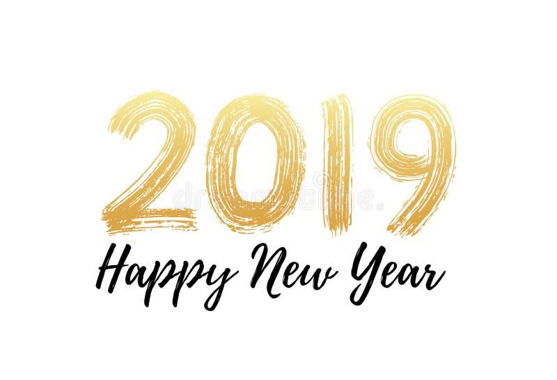 handbokstäver för 2019 nummer Skrifttext för lyckligt nytt år Torr borstetextureffekt glad jul också vektor för coreldrawillustra vektor illustrationer