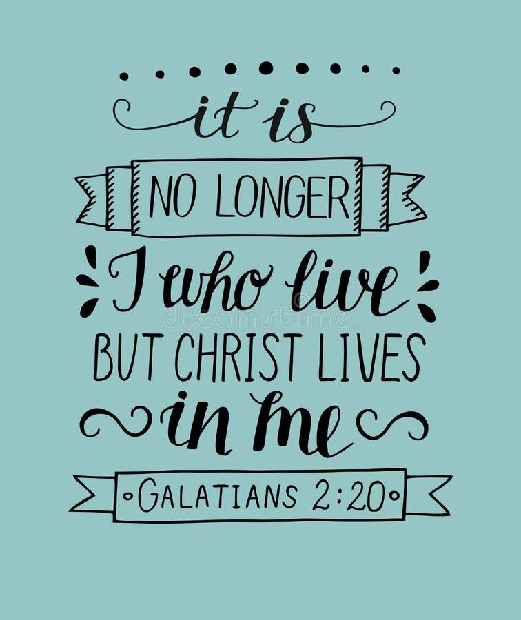 Handbokstäver med bibelvers är det ej längre mig, som bor, bara Kristusliv i mig vektor illustrationer