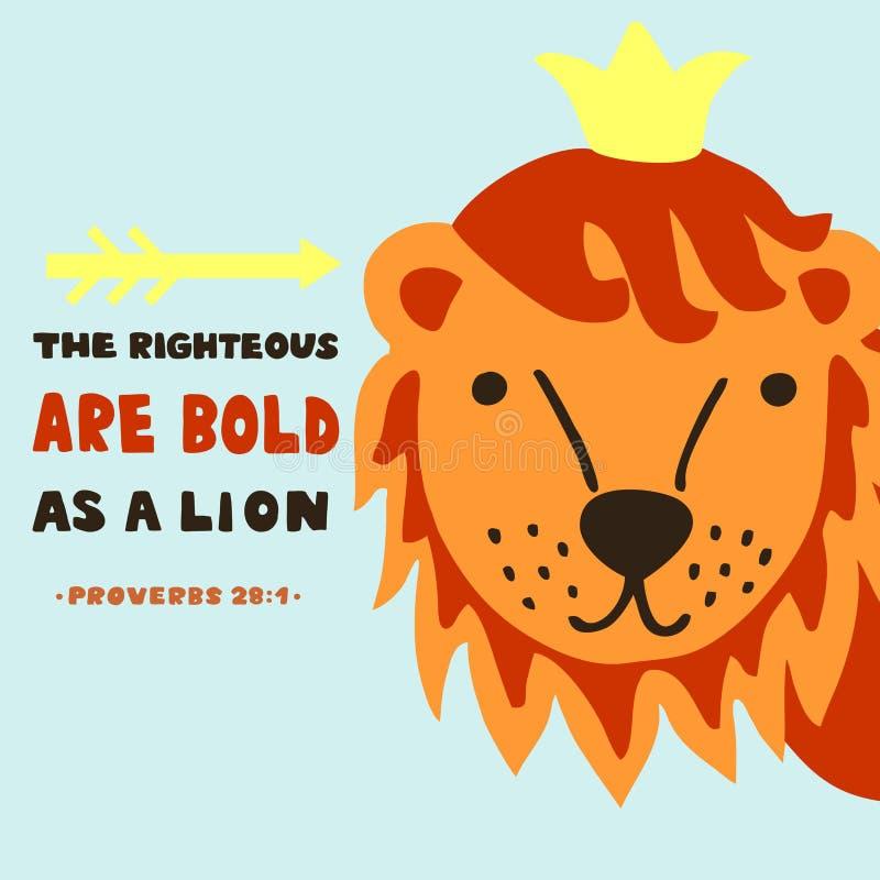 Handbokstäver med bibelvers det rättfärdigt sättas en klocka på som ett lejon proverbs vektor illustrationer