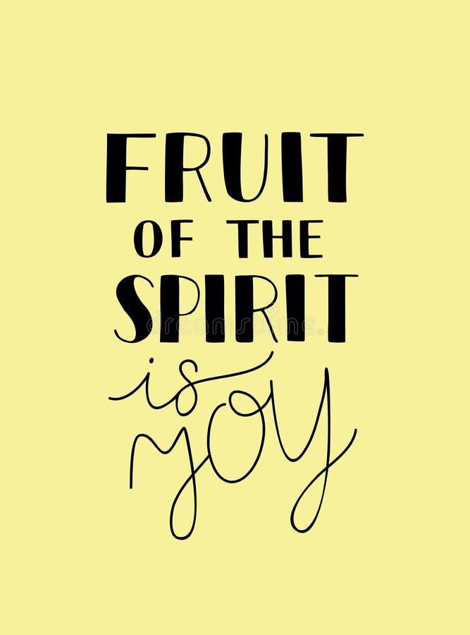 Handbokstäver med bibelvers frukten av anden är glädje stock illustrationer