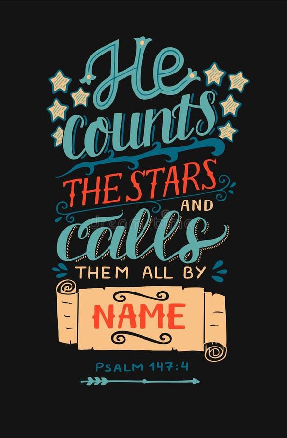 Handbokstäver med bibelvers räknar kallar han stjärnorna och alla dem till namn på svart bakgrund psalm royaltyfri illustrationer