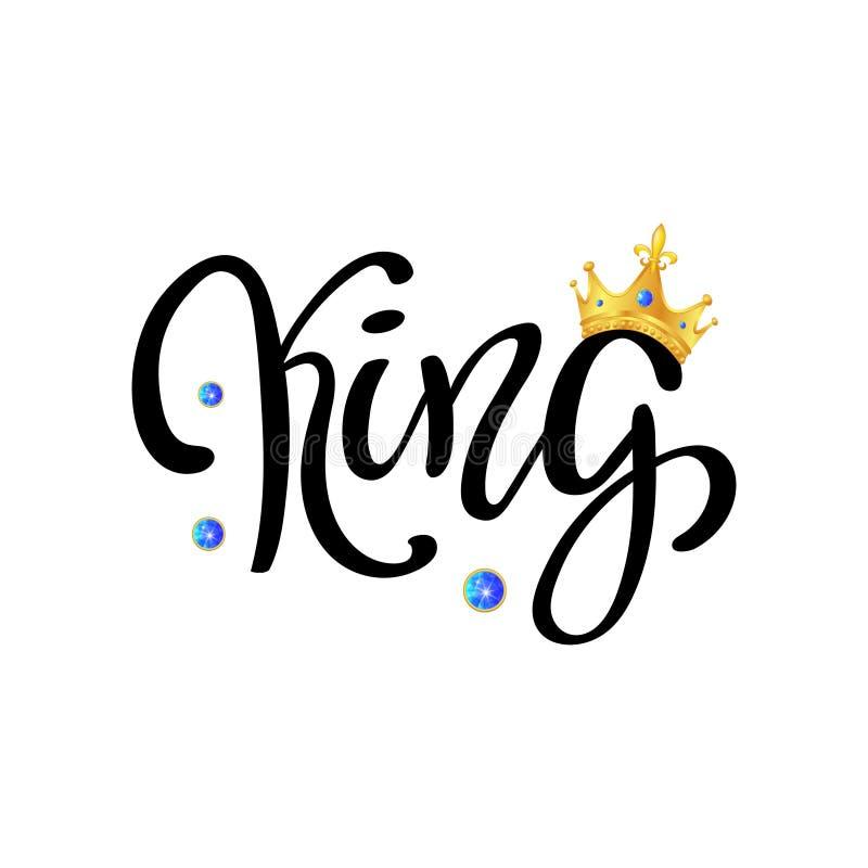 Handbokstäver med ordet KONUNG och guld- krona royaltyfri illustrationer