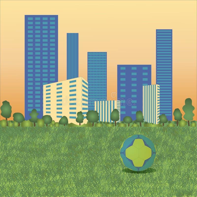 Handbollboll på cityscape stock illustrationer