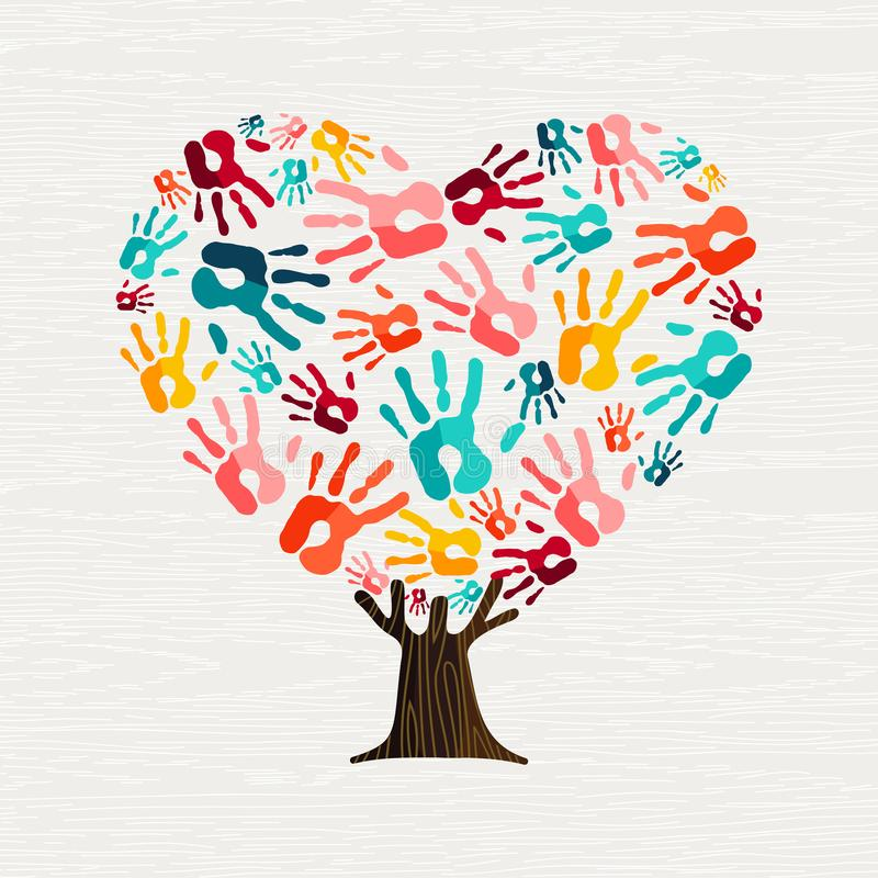 Handboom in hartvorm voor liefdeconcept vector illustratie